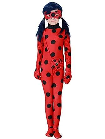 Eleasica Enfant Miraculous Ladybug Costume Combinaison Masque Sac Manches Longues Cosplay Rouge A Pois Respirant Doux Déguisement Halloween Noël Anniversaire Carnaval Fête, Rouge, 95-110cm