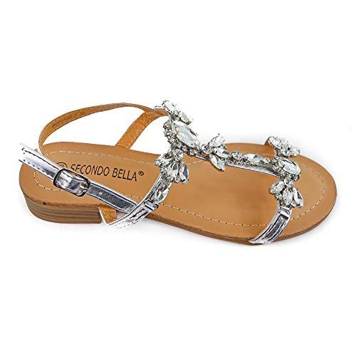 Secondo bella sb-sandaletto gioiello con motivo floreale e tacco basso cm. 2.5, nero/oro/argento (36 eu, argento)