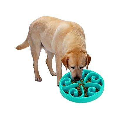 Slow Feed Dog Bowls 8 Inch, Plastic Dog Food Water 2 In 1 Bowl, Cute Dog Dish Pet Feeder Bowl 10oz Non-Skid Anti Choke… 3
