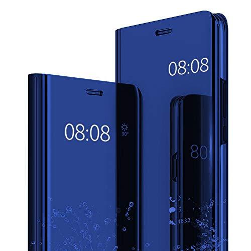 Hülle Kompatibel mit Galaxy A8 2018 Spiegel Schutzhülle Flip Handy Tasche mit Standfunktion für Galaxy A8/A8 Plus Business Serie Hart Case Cover für Galaxy A8+ (Blau, Galaxy A8)