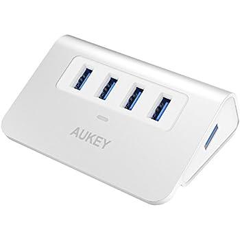 AUKEY Hub USB 3.0 4 Porte SuperSpeed 5Gbps in Alluminio con Cavo USB 3.0 50cm e LED Indicatore USB Hub per Apple MacBook, Macbook Air, Macbook Pro, iMac - Argento