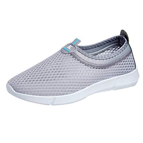 Xmiral Mesh Sneakers Herren Atmungsaktiv Bootsschuhe Rutschfest Gummisohle Einfarbig Sportschuhe Laufschuhe Barfuß Badesandale Wasserschuhe(Grau,40 EU)