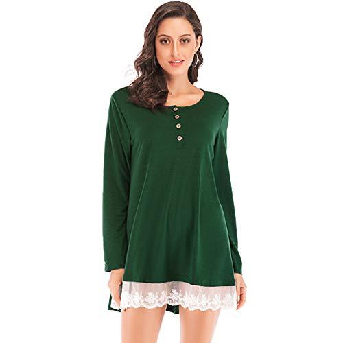 Oliviavan Kleid Damen Blusen Spring Lace Panel Langärmliges T-Shirt mit Oberteil 2in1 Dirndl blusen Grau Schwarz Herbst Winter Frühling Bluse