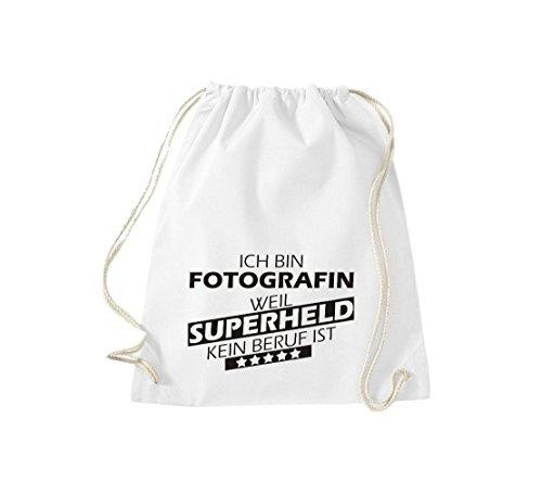 Shirtstown Borse palestra Ich bin Fotografo, weil Super eroe niente Occupazione è - Arancione, 37 cm x 46 cm bianco