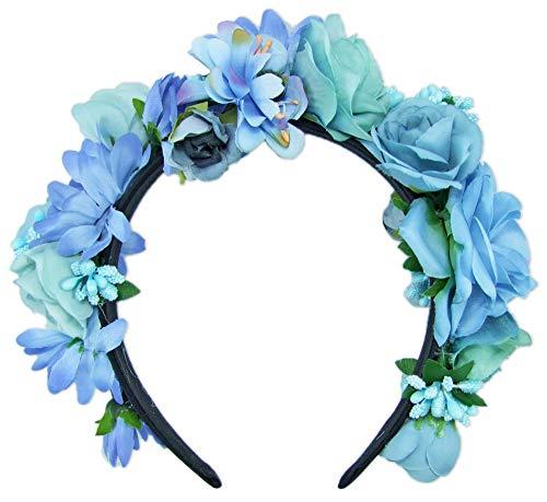 Trachtenland Hochwertiger Blumen Haarreif Blumenwiese - Zauberhafter Haarschmuck zum Dirndl, für Hochzeiten oder Festivals - Blau