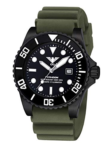 KHS Typhoon KHS.TYBSA.DO - Orologio automatico in acciaio, colore: Verde oliva
