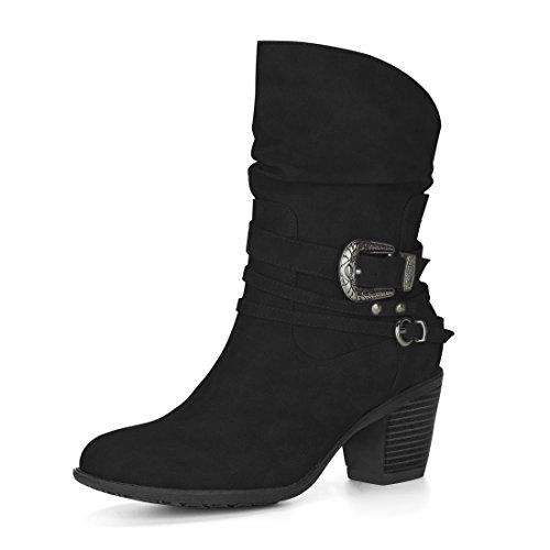 Allegra K Damen Runde Zehe Schnalle Gurt Blockabsatz Slouchy Stiefel, Schwarz/EU 38.5 (Stiefel Schnalle Gurt)