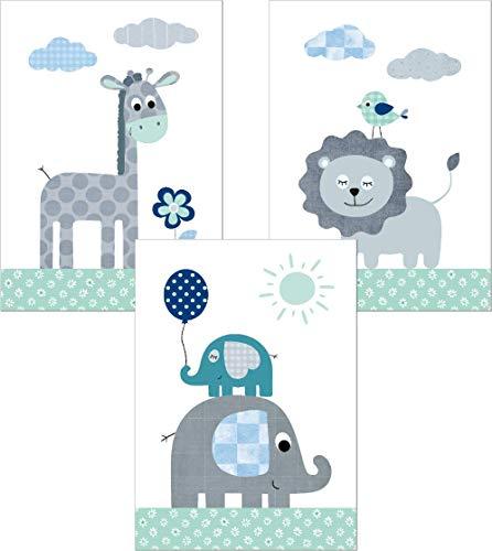 Lalelu-Prints Dschungeltiere Safari Kinderzimmer Poster Set DIN A4 I Kinderbilder Deko Mädchen Junge I Babyzimmer Wandbilder Dschungel Elefant Giraffe Löwe Nilpferd mint grau (Elefant Giraffe Löwe)