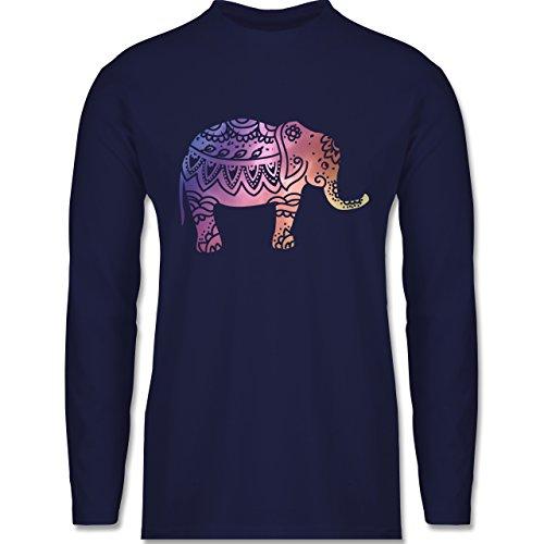Shirtracer Boheme Look - Elefant Namaste - Herren Langarmshirt Navy Blau