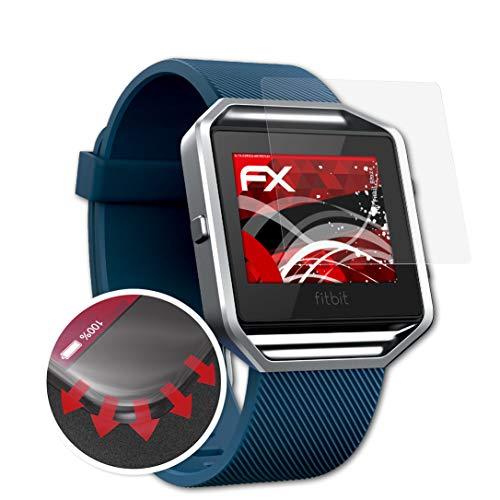 atFoliX Schutzfolie passend für Fitbit Blaze Folie, entspiegelnde & Flexible FX Bildschirmschutzfolie (3X)