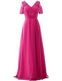 MACloth Women V Neck Sequin Long Prom Dress Wedding Party Formal Evening Gown (EU50, Plateado)