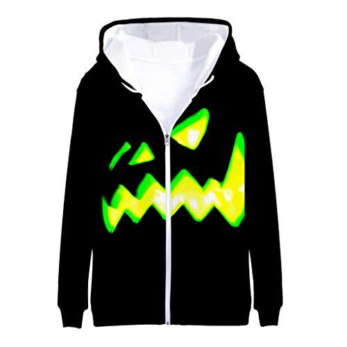 KPILP Herren Halloween Kostüm Kapuzepullover Reißverschlus Hoodies 3D Drucken Outwear Mantel Jacke Swearshirt Herbst Winterjacke Halloween Party Cosplay (Blind Date Kostüm)
