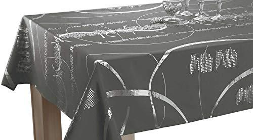 Tischdecke Shiny Rechteckige 150x300 cm - Pflegeleicht - Dunkelgrau mit glänzende-Motiven -