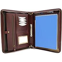 Lederoptik Braun Rei/ßverschluss Taschenrechner Noda Exclusiv A4 Schreibmappe mit Ringbuch