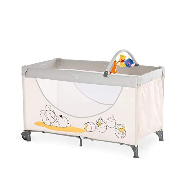 Hauck Dream N Play Go, 5-Part Travel Cot from Birth to 15 kg, 120 x 60 cm, Folding Travel Bed with Folding Mattress, Carry Bag, Play Arch and Toy Bag, Tilt-Resistant, Pooh Cuddles Disney Suitable from birth Includes fold up mattress (60 x 120cm) Folds away into its own carry bag 1
