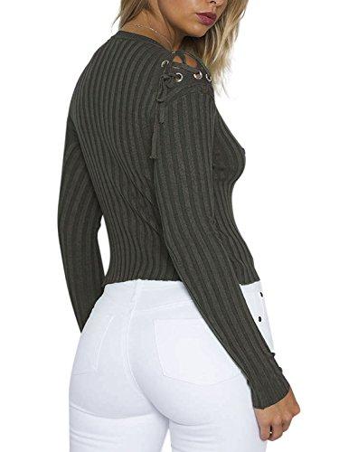 Simplee Apparel Femme Pull Tricot Manches Longues Pull over Côtelé lacé Sweat Chandail Slim Chaud veste Automne Hiver Vert