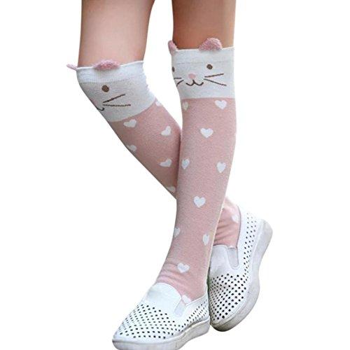 BZLine® Baby Kids Girls Socke elastisch Tier Druck Knie hoch gerafft süss Socken (Wassermelonenrot) (Geraffte Knie Hoch)