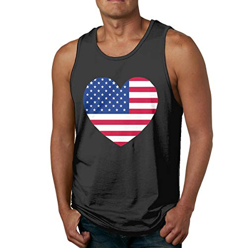 Abigails Home Amerika-Flagge-Liebe Mens Tank Top ärmellose Shirts Tee Basketball Sport T Shirt Tees Outdoor Fitness(S,schwarz) -