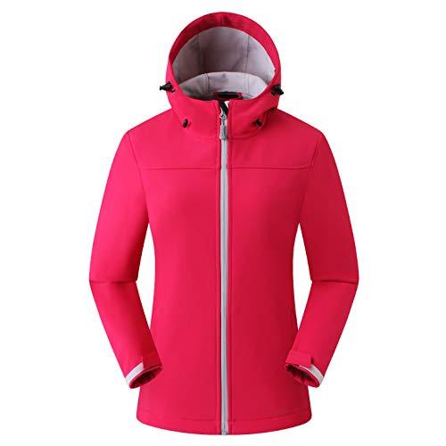 Eono Essentials giacca softshell da donna con cappuccio media pesantezza colore rosso acceso