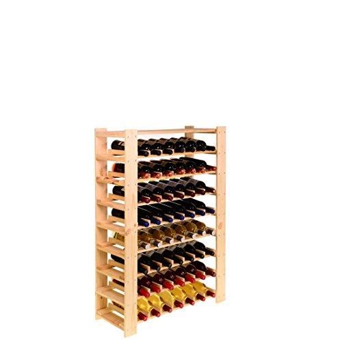 Weinregal FACILE, Holz Kiefer natur, für 56 Flaschen - H 110 x B 80 x T 29,3 cm