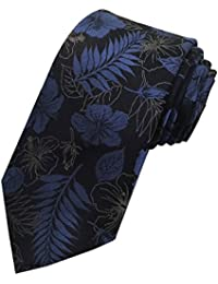TED BAKER London Mens 100% Woven Silk Neck Tie Necktie Tropical Blue Black Floral Leaves