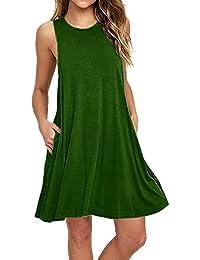 V-toto Vestidos de Mujer, Vestido de Camiseta, Manga Larga O-Cuello