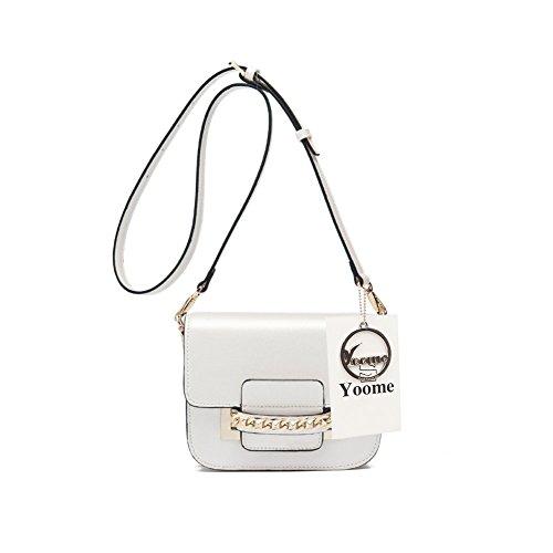 Yoome Flap Cross Body Messenger Schultertasche Handtasche Mini Casual Tägliche Taschen für Mädchen - Weiß (Flap Cross-body Mini-tasche)