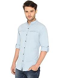Bombay High 100% Cotton Denim Band Collar Casual Shirt