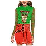 Auiyut Damen Neuheit Shirt Hemdkleid 3D Druck Langarmshirts Weihnachtsmotiv Olaf Santa Schlank Top Kleid Figurbetontes Casual Party Mini Kleid Weihnachten Bodycon