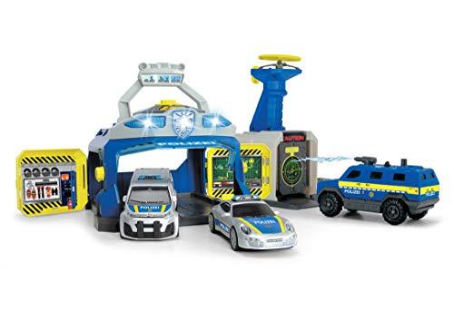 Dickie Toys 203717004 SWAT Station, Polizeistation, Spielstation, Set Polizei, Sondereinheit, Polizeiauto Spielzeug mit vielen Funktionen inkl. 3 Autos, Spezialeinheit, Mehrfarbig