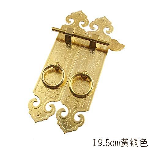 ZTZT Chinesische antike möbel kupfer griff klassische verbreitert verdickt schrank kleiderschrank aus reinem kupfer schranktür tür retro griff länge 19,5 * breite 4 cm messing farbe (ein paar preis) -