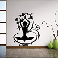 asfrata265 Yoga Posiert Kreative Vinyl Hause Schlafzimmer Dekor Yoga Fitness Frauen Wandaufkleber Abnehmbare Vinyl Yoga Wandkunst Aufkleber 57X71 Cm