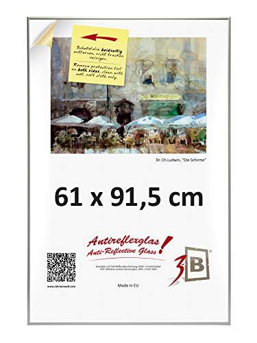 3-B Alu Poster Brushed - Großer Bilderrahmen - mit Antireflex Polyesterglas und Einzelverpackung - Silber matt - 61x91,5 cm