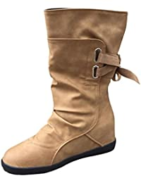 Botas altas de mujer Botines para mujer Botas Martin para mujer Señoras Moda Otoño invierno Cuña baja Hebilla Recortar Plano Zapatos LMMVP