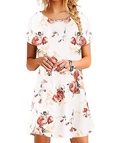 Yoins donna vestito casual mini abito con scollo rotondo sciolto abiti manica corta vestiti donna eleganti estivi da cocktail t-shirt bianco eu46