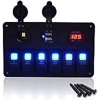 MASO - Interruptor basculante LED azul de 6 bandas con interruptor de circuito USB para coche RV barco marino
