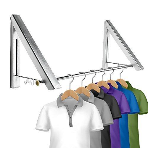 KYG Faltbar Kleiderhaken Klappbarer Wand-Kleiderständer Set Folding Platzsparend Wetterfest Kleiderbügel Aluminium