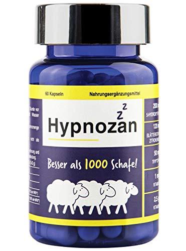 Hypnozan 60 Kapseln - 2 Monate guten Schlafes, hochwertige Melatonin-Quelle, 5-HTP, Zitronenmelisse, Tryptophan. Synergieeffekt, besser als Schlaftabletten