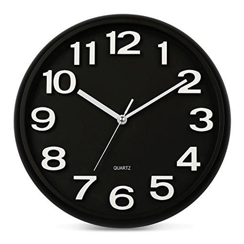 ZML Horloge Murale, Non-coutil, Horloge à Quartz Ronde 14 Pouces, Salon
