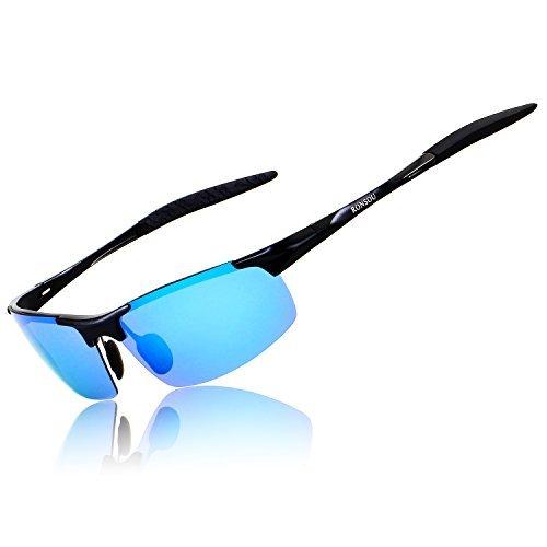 Ronsou Herren Sport Al-Mg Polarisiert Sonnenbrille Unzerbrechlich zum Fahren Radfahren Angeln Golf schwarz rahmen/blau linse