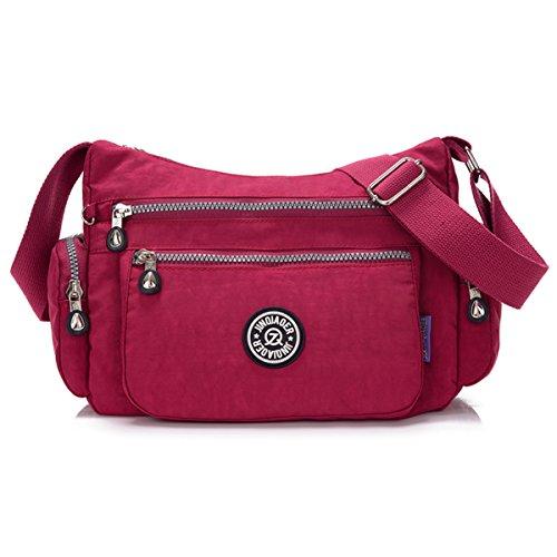 Tiny Chou Schultertasche, leicht, wasserdicht, Nylon, Umhängetasche, Messenger-Tasche, mit vielen Reißverschlusstaschen rot