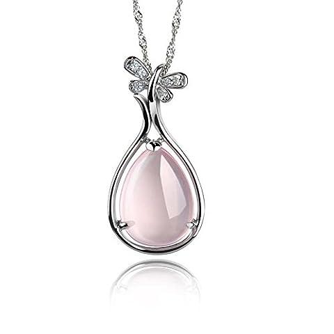 Echt 925 Silber rosa Opal Anhänger Kette Halskette Schmuck elegant Zirkonia (Opal Modeschmuck)