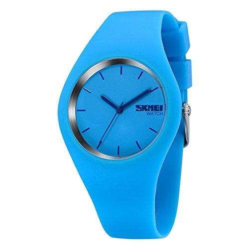GWELL Unisex Armbanduhren Ultradrünn 30M Wasserdicht Analog Quarz Fashion Damen Herren Uhren One-Piece Outdoor Sportuhr aus Silikon Hellblau (Damen Outdoor-wasserdichte Armbanduhr)