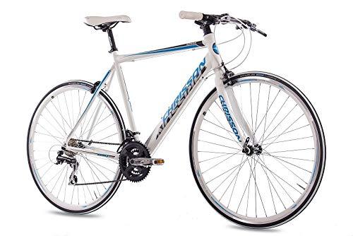 CHRISSON 28 Zoll Rennrad Fitnessrad Urbanrad Fahrrad AIRWICK mit 24 Gang Shimano ACERA Weiss blau Rahmengröße:56 cm
