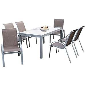 7 teilige garnitur amalfi alu kunststoffgewebe taupefarben 6x stapelsessel 1x. Black Bedroom Furniture Sets. Home Design Ideas