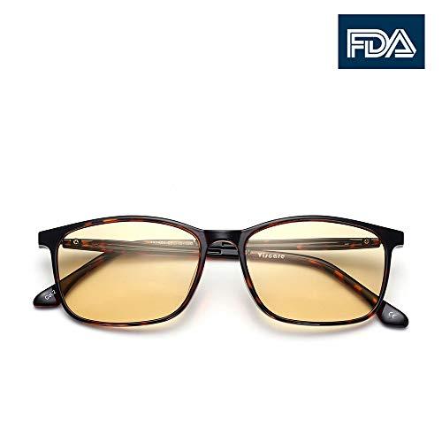 Patent Melanin! Viscare TR90 Rahmen Anti-Blaues Licht Gaming Gamer Computer Brille Herren Damen, Gelb Linse Brille gegen Augenmüdigkeit, Kopfschmerzen, Anstrengung der Augen, Arbeitsplatzbrille (Tortoise)