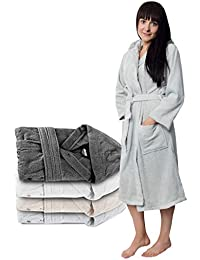 Twinzen ⭐ Peignoir Femme Certifié sans Produits Chimiques, 100% Coton - Peignoir de Bain Eponge Coton avec Capuche, 2 Poches, Ceinture - Sortie de Bain Douce, Absorbante et Confortable