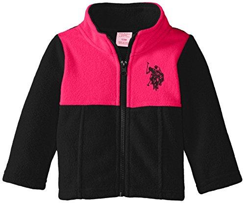 U.S. Polo Assn. Baby-Girls Mock Neck Color Block Polar Fleece Jacket, Black/Fuchsia, 12 Months