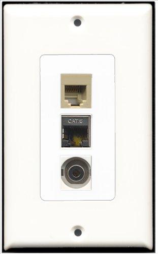 RiteAV-1Port Telefon RJ11, RJ12, beige und 1x Port geschirmt, Cat. 6Ethernet 1Port 3.5mm Decora Wall Plate Decora 6-port-wall Plate