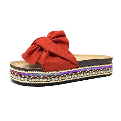 Angkorly - scarpe moda mules infradito folk/etnico infradito suola grande donna nodo perla intrecciato tacco tacco piatto 4 cm - rosso s62 t 36